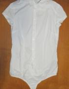 Biała koszula body z krótkim rękawem