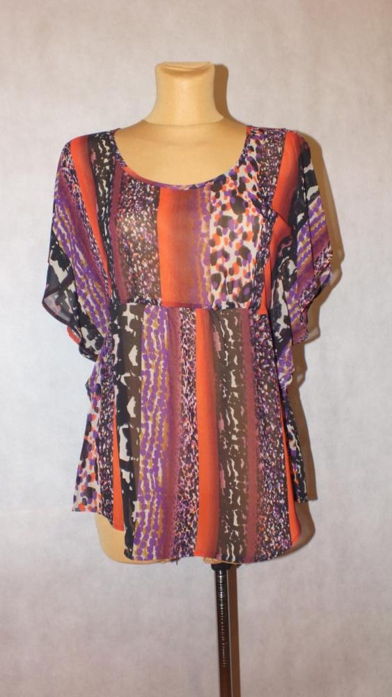 Bluzki Bluzka Mgiełka w kolorowy wzór M&S Rozmiar 42