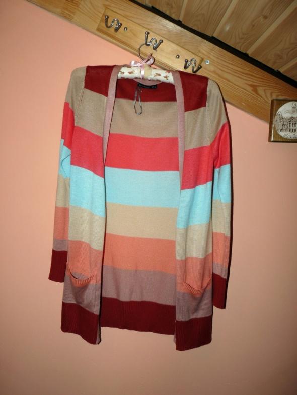 Sweterek kardigan kolorowe paski
