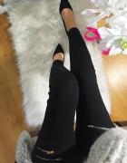 Czarne legginsy Damskie pozłacane suwaki S M