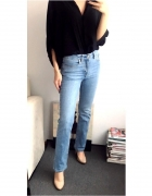 Jeansy z podwyzszanym stanem dzwony hippie vintage...
