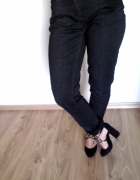 czarne proste spodnie motyw wężowy S 36