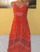 Pomarańczowa sukienka w stylu Vintage 38 M 10