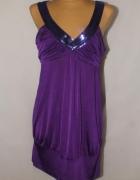 Fioletowa sukienka z cekinami New Look Rozmiar 46