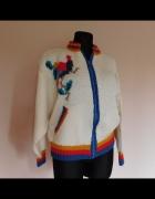 Ręcznie robiony sweter z papugą wełna 38 40