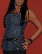 jeansowy gorset z zipem i ćwiekami