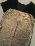 Nowa sukienka w złotą wytłaczaną koronkę