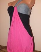 Czarno różowa sukienka G21 George 34 36 XS S
