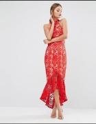 Asos midi sukienka gipiura czerwona falbana