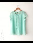 Miętowa pastelowa bluzka z żabotem na lato...