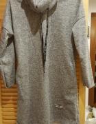 Szara ciepła sukienka z golfem...