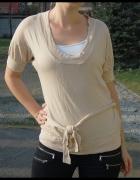 ZARA beżowy sweter wiązany M 38 NOWY