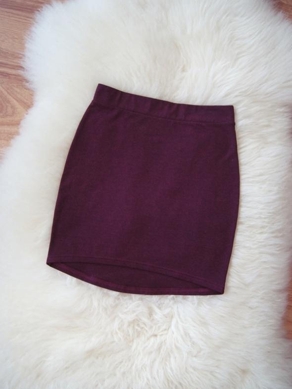 Spódnice bordowa dopasowana asymetryczna bandażowa spódniczka