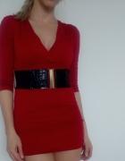 Elegancka czerwona tunika dekolt XS 34