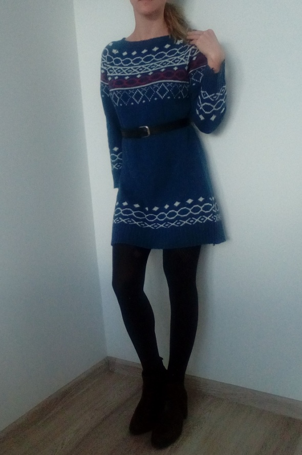 Sweter tunika wzór norweski XS S M oversize