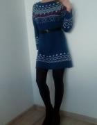 Sweter tunika wzór norweski XS S M oversize...