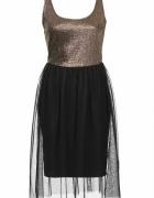 złoto czarna sukienka topshop