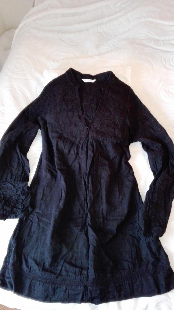 Promod czarna ozdobna bluzka tunika z haftem...