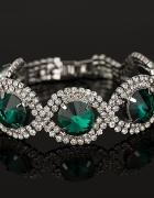 Elegancka ślubna bransoletka kryształ złoto niebie