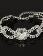 Elegancka ślubna bransoletka kryształ biała