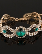 Elegancka ślubna bransoletka złota kryształ zielon