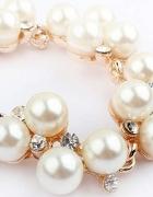 Bransoletka złota perły cyrkonie