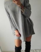 sweterek tunika szara grey oversize