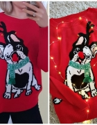 Świąteczny sweter czerwony pompon S m l
