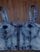 jeansowy bralet top