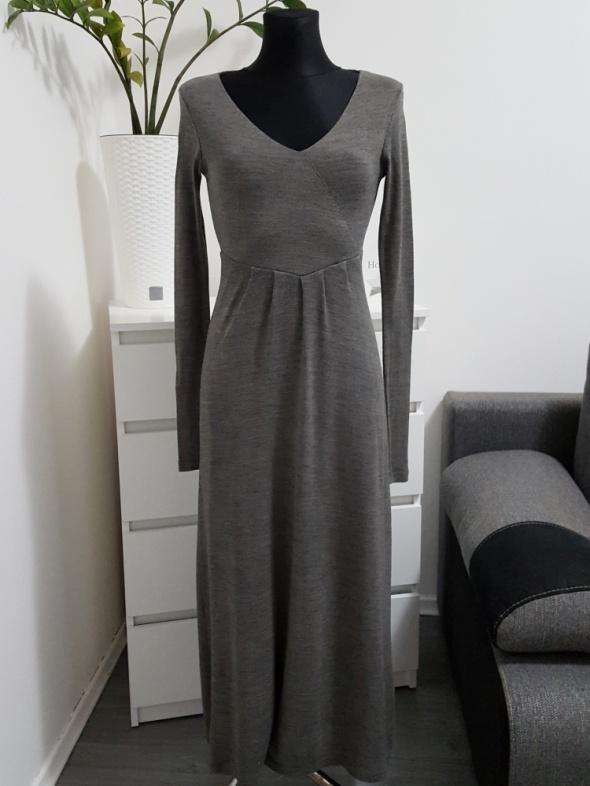 bfb3121283 długa szara sukienka z dzianiny Zara w Suknie i sukienki - Szafa.pl