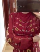 Bordo sukienka folk półgolfik