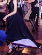 Oryginalna czarna asymetryczna suknia okazjonalna