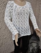 sweterek pleciony narzutka prześwitujący biały 36 38 ażurowy haftowany