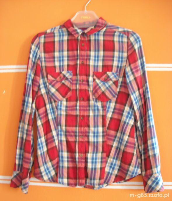 koszula w kratę czerwona KappAhl...