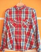 koszula w kratę czerwona KappAhl