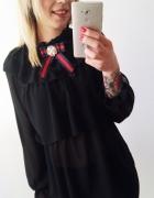 koszula czarna blacka nowa falbana broszka elegancka święta