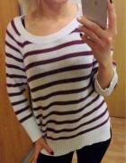 Sweter paski H&M 36 S biały ciepły