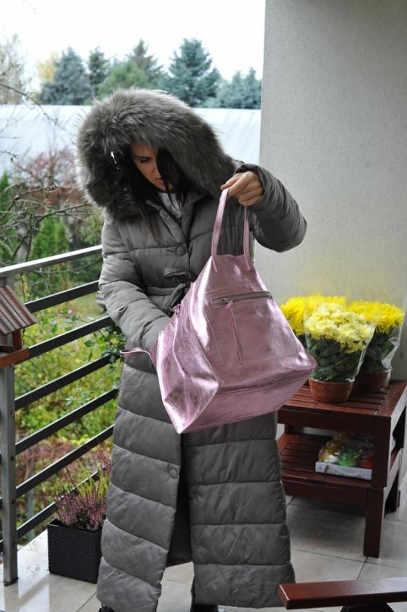 Maxi kurtka i torebka glam...