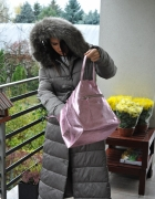 Maxi kurtka i torebka glam