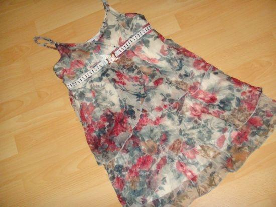 Sukienka falbanki falbany kwiatki mgiełka 36