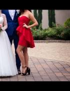 Sukienka asymetryczna BASKINKA CZERWONA 36 S...