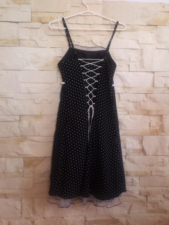 Suknie i sukienki Sukienka czarna w białe groszki lata 60 gorset S M
