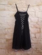 Sukienka czarna w białe groszki lata 60 gorset S M...