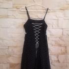Sukienka czarna w białe groszki lata 60 gorset S M