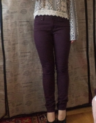 Fioletowe jeansy rurki H&M z wyższym stanem nowe...