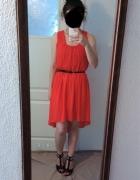 Asymetryczna szyfonowa sukienka na szelkach...