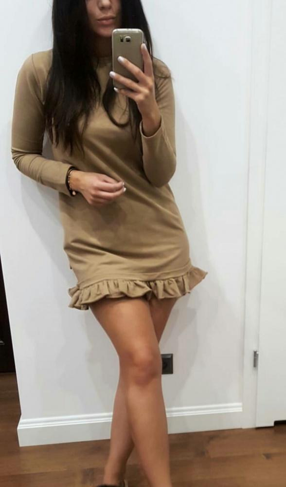 sukienka ala by o la la z falbanka bezowa s