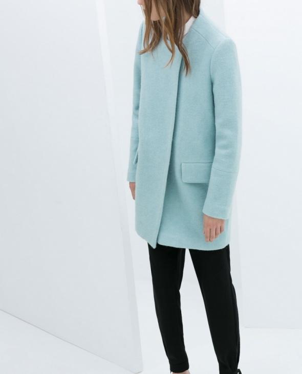 Odzież wierzchnia płaszcz wełna zara baby blue r s