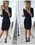 Czarna elegancka sukienka midi prążkowany materiał