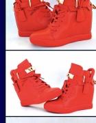 Czerwone sneakersy raz założone zamienię na te same tylko płask...